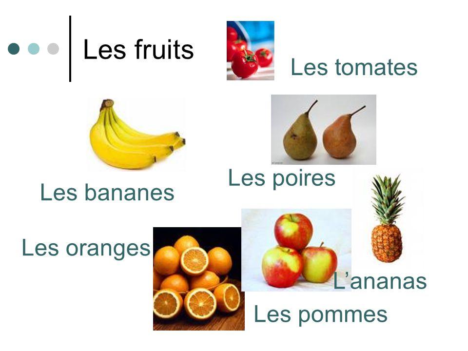 Les fruits Les bananes Les poires Les oranges Les pommes Lananas Les tomates