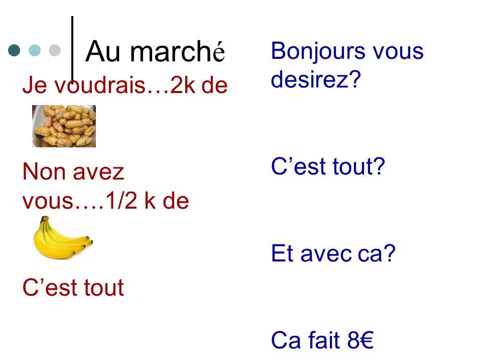 Au march é Je voudrais…2k de Non avez vous….1/2 k de Cest tout Bonjours vous desirez.