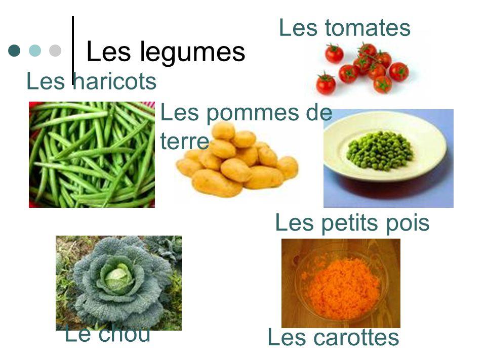 Les legumes Le chou Les haricots Les pommes de terre Les carottes Les petits pois Les tomates