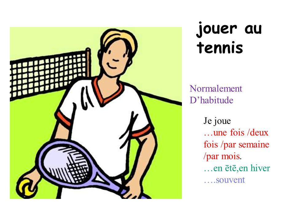 jouer au tennis Normalement Dhabitude Je joue …une fois /deux fois /par semaine /par mois. …en ētē,en hiver ….souvent