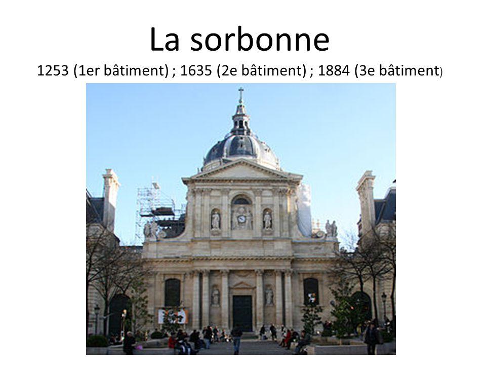 La sorbonne 1253 (1er bâtiment) ; 1635 (2e bâtiment) ; 1884 (3e bâtiment )