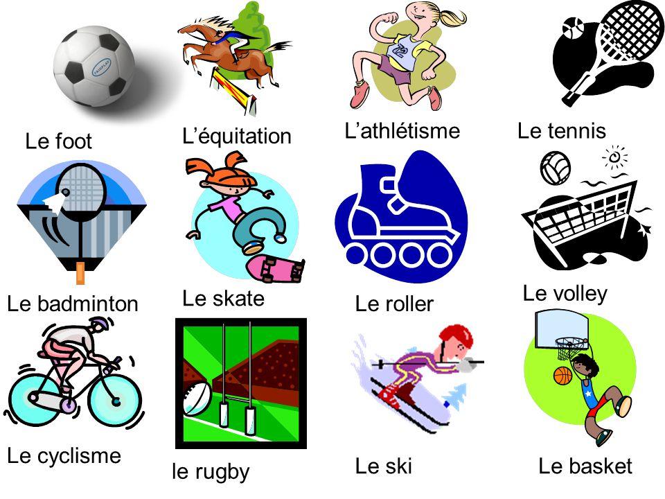 Le foot Léquitation LathlétismeLe tennis Le badminton Le skate Le roller Le volley Le cyclisme le rugby Le skiLe basket