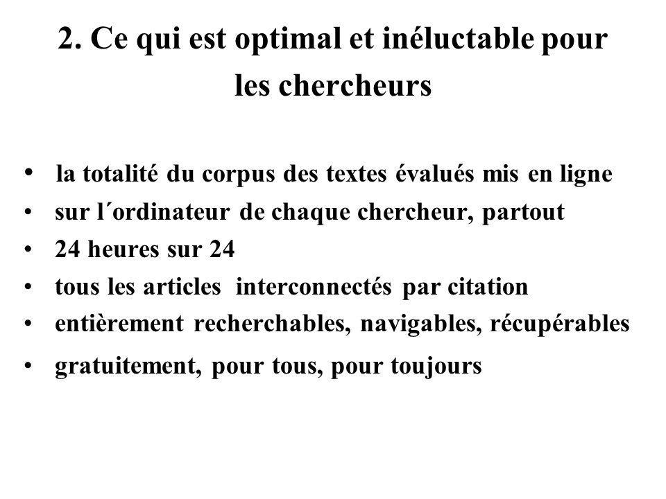 2. Ce qui est optimal et inéluctable pour les chercheurs la totalité du corpus des textes évalués mis en ligne sur l´ordinateur de chaque chercheur, p