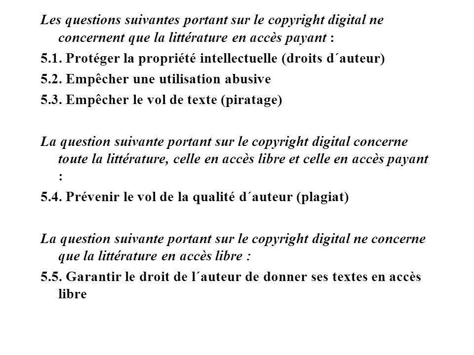 Les questions suivantes portant sur le copyright digital ne concernent que la littérature en accès payant : 5.1.