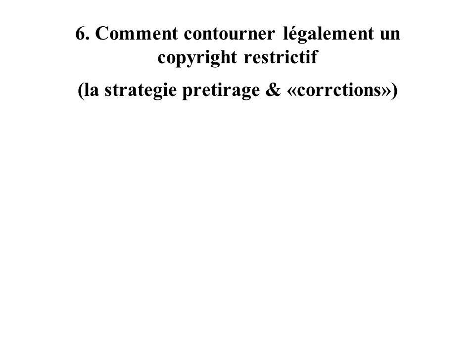 6. Comment contourner légalement un copyright restrictif (la strategie pretirage & «corrctions»)