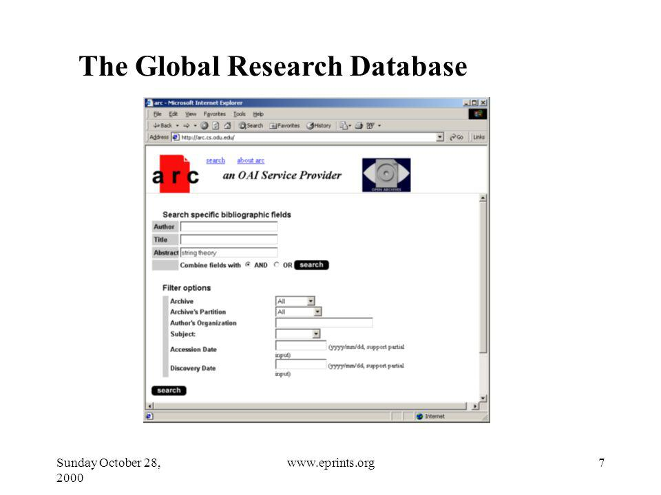 Sunday October 28, 2000 7www.eprints.org The Global Research Database