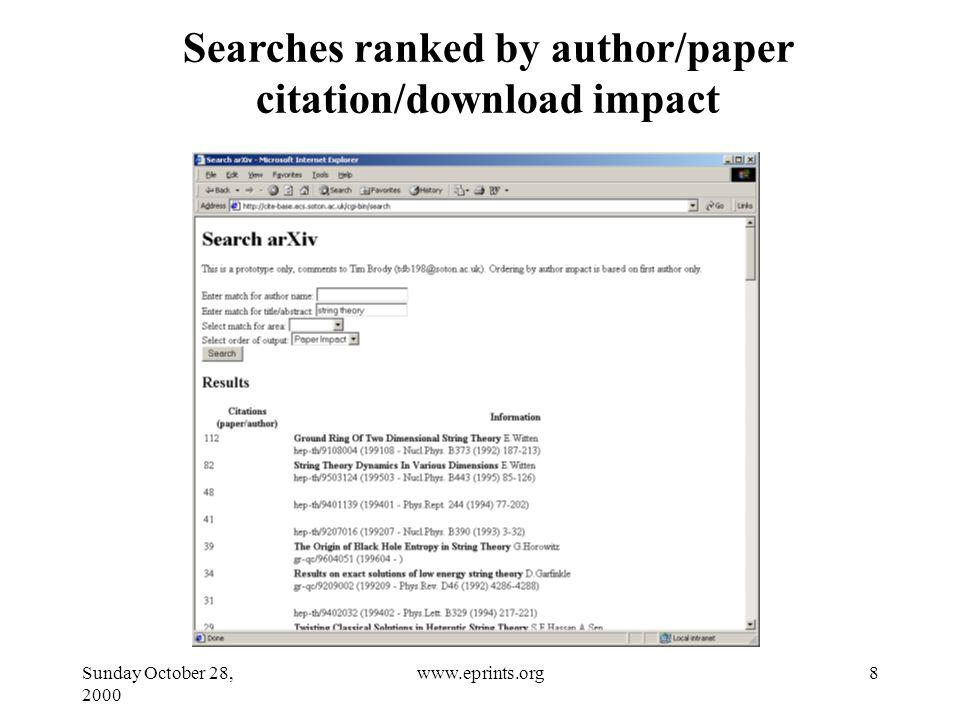Sunday October 28, 2000 8www.eprints.org Searches ranked by author/paper citation/download impact
