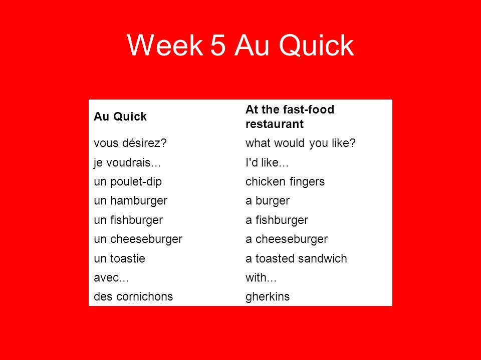 Week 5 Au Quick Au Quick At the fast-food restaurant vous désirez what would you like.