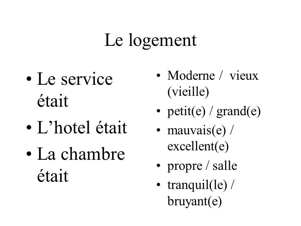 Le logement Le service était Lhotel était La chambre était Moderne / vieux (vieille) petit(e) / grand(e) mauvais(e) / excellent(e) propre / salle tranquil(le) / bruyant(e)