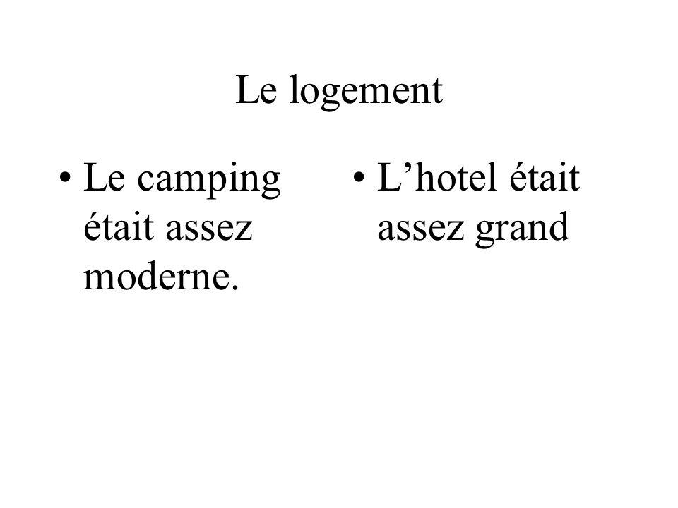 Le logement Le camping était assez moderne. Lhotel était assez grand
