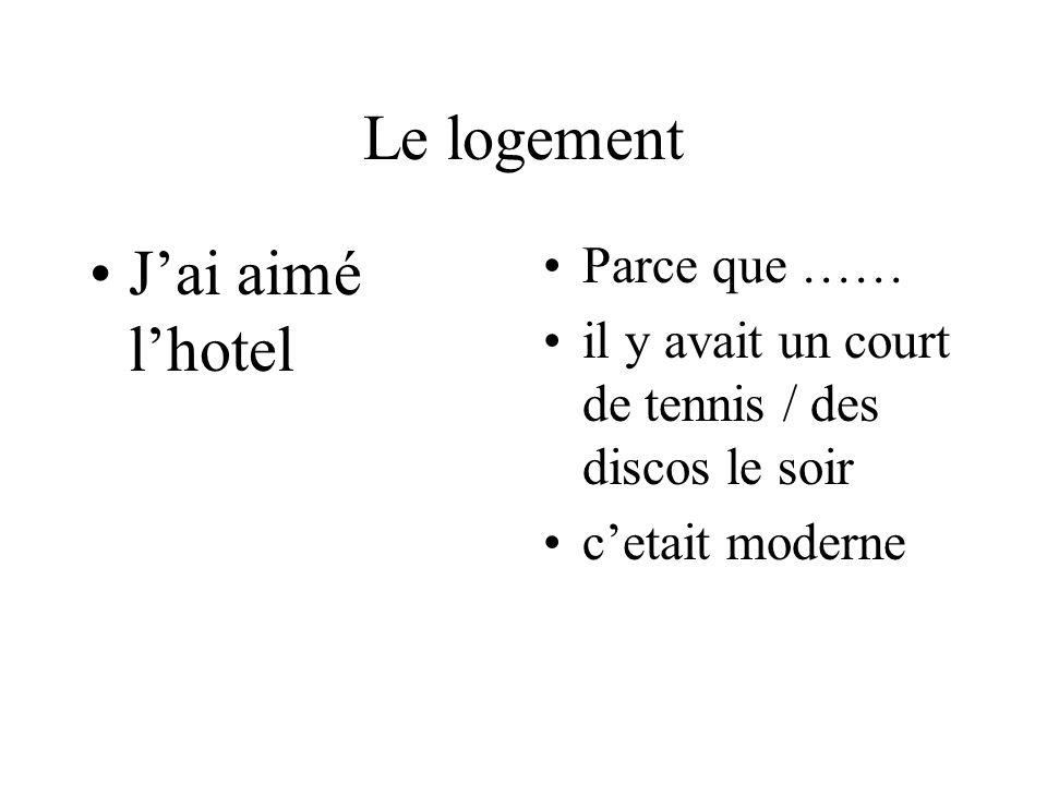 Le logement Jai aimé lhotel Parce que …… il y avait un court de tennis / des discos le soir cetait moderne