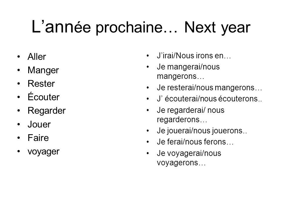 Lann ée prochaine… Next year Jirai/Nous irons en… Je mangerai/nous mangerons… Je resterai/nous mangerons… J écouterai/nous écouterons.. Je regarderai/