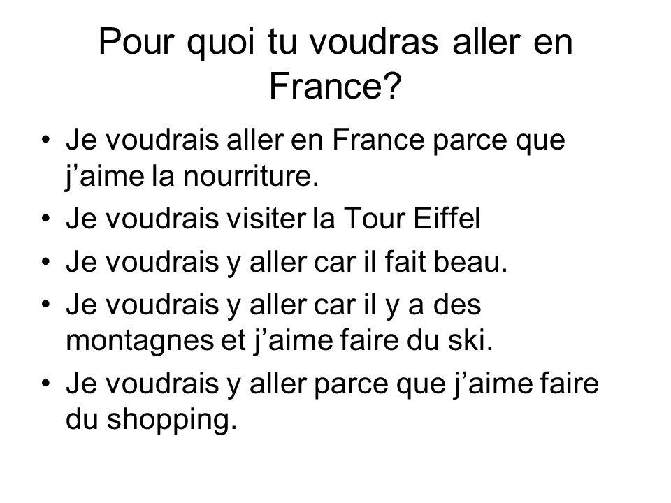 Pour quoi tu voudras aller en France? Je voudrais aller en France parce que jaime la nourriture. Je voudrais visiter la Tour Eiffel Je voudrais y alle