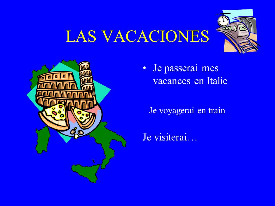 LAS VACACIONES Je passerai mes vacances en Espagne. Je voyagerai en avion Jirai à la…