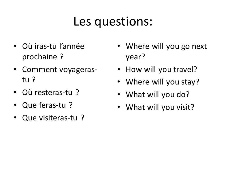 Les questions: Où iras-tu lannée prochaine ? Comment voyageras- tu ? Où resteras-tu ? Que feras-tu ? Que visiteras-tu ? Where will you go next year? H