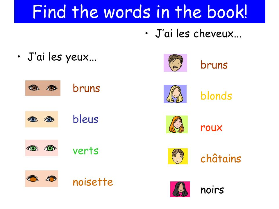 Jai les yeux... bruns bleus verts noisette Jai les cheveux... bruns blonds roux châtains noirs Find the words in the book!