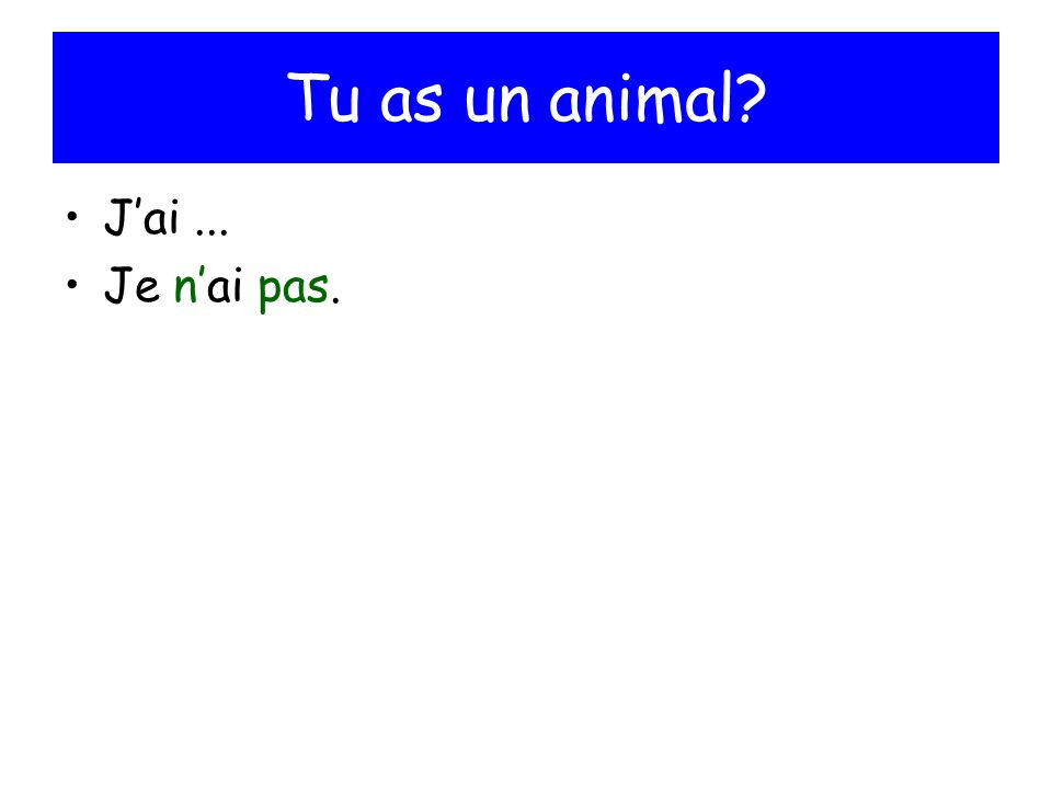 Tu as un animal? Jai... Je nai pas.