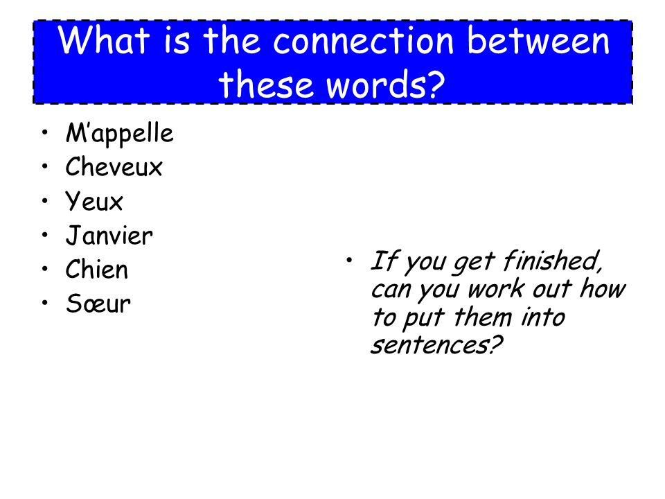 What is the connection between these words? Mappelle Cheveux Yeux Janvier Chien Sœur If you get finished, can you work out how to put them into senten