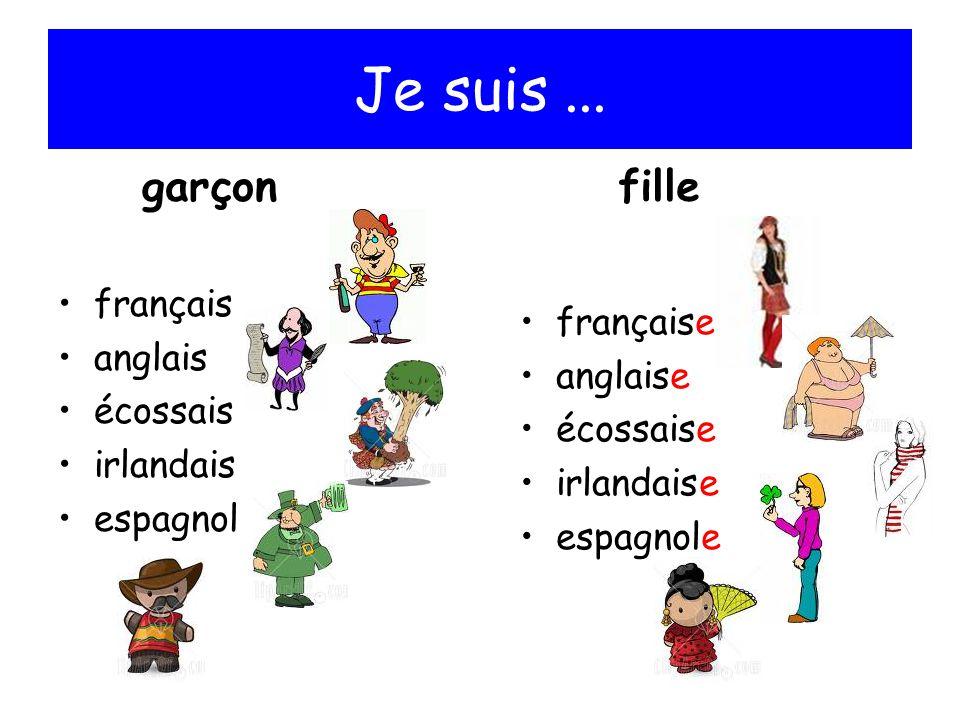 Je suis... français anglais écossais irlandais espagnol française anglaise écossaise irlandaise espagnole garçonfille