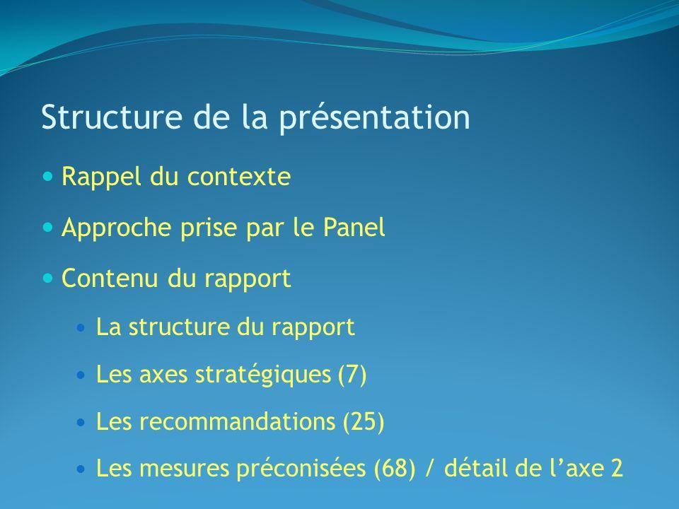 Structure de la présentation Rappel du contexte Approche prise par le Panel Contenu du rapport La structure du rapport Les axes stratégiques (7) Les recommandations (25) Les mesures préconisées (68) / détail de laxe 2