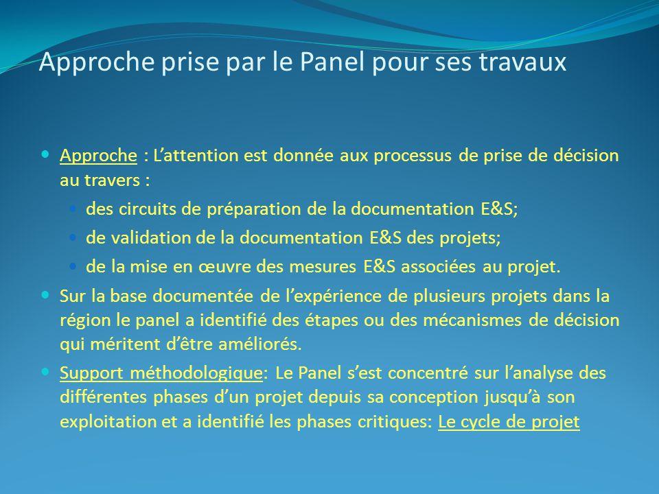 Approche : Lattention est donnée aux processus de prise de décision au travers : des circuits de préparation de la documentation E&S; de validation de la documentation E&S des projets; de la mise en œuvre des mesures E&S associées au projet.