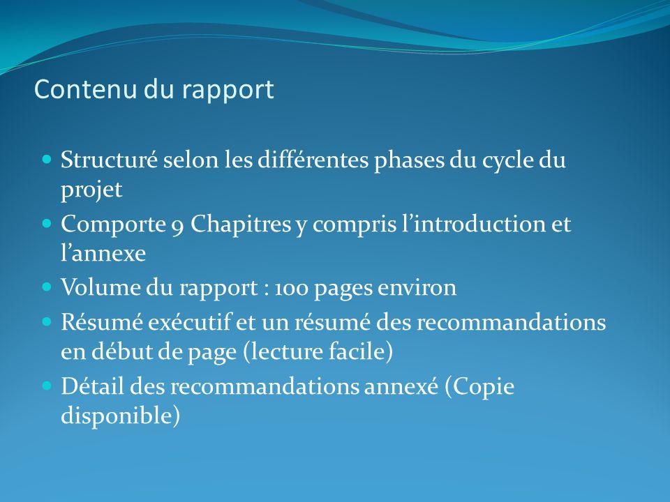 Contenu du rapport: les axes stratégiques (7) 1- Affirmer le Rôle majeur des OB (3 recommandations) 5- Optimiser la rentabilité des grands ouvrages (5 recommandations) 2- Intégrer les populations affectées comme bénéficiaires (3 recommandations) 3- Accepter les incertitudes et gérer les risques (4 recommandations) 7- Adopter un cadre de référence régional (6 recommandations) 4- Sassurer que les acteurs clés jouent leur rôle (2 recommandations) 6- Capitaliser et échanger les expériences (2 recommandations)