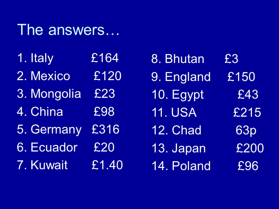 The answers… 1.Italy £164 2. Mexico £120 3. Mongolia £23 4.