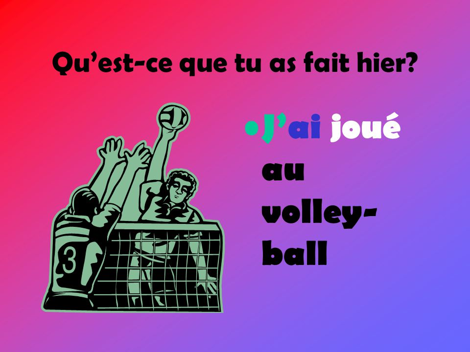 Making the Past Tense Le Passé Composé To make the past tense in French you need: 1.Subject pronoun 2.Auxiliary verb (avoir or être) 3.Past Participle