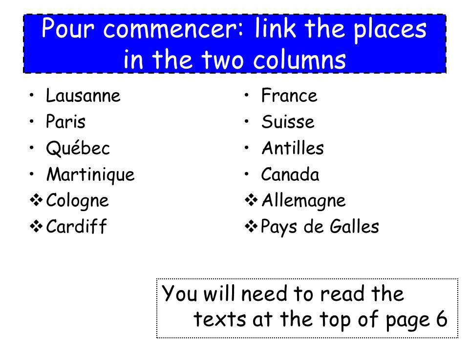 Ex1a pg7 Copy the table Read the four texts again Fill in the table with key words in French