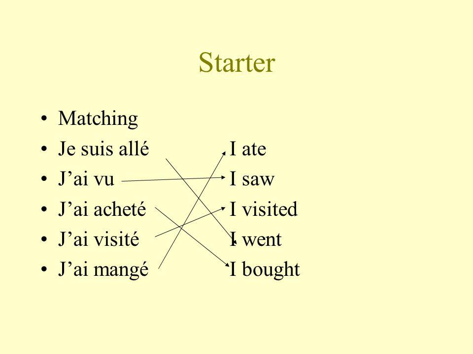 Starter Matching Je suis alléI ate Jai vuI saw Jai achetéI visited Jai visitéI went Jai mangéI bought