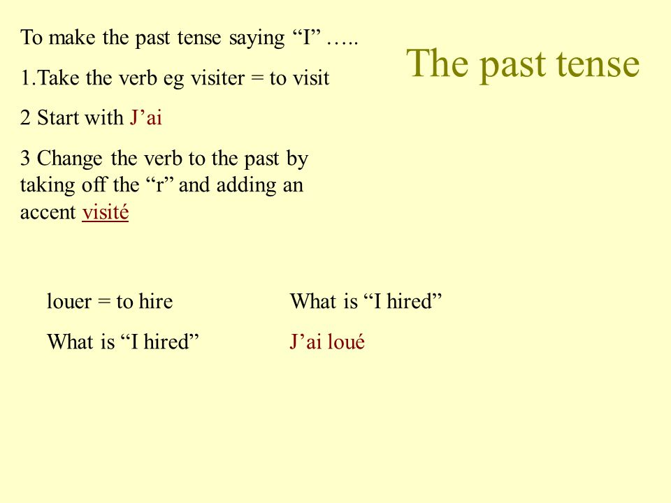 The past tense To make the past tense saying I ….. 1.Take the verb eg visiter = to visit 2 Start with Jai 3 Change the verb to the past by taking off