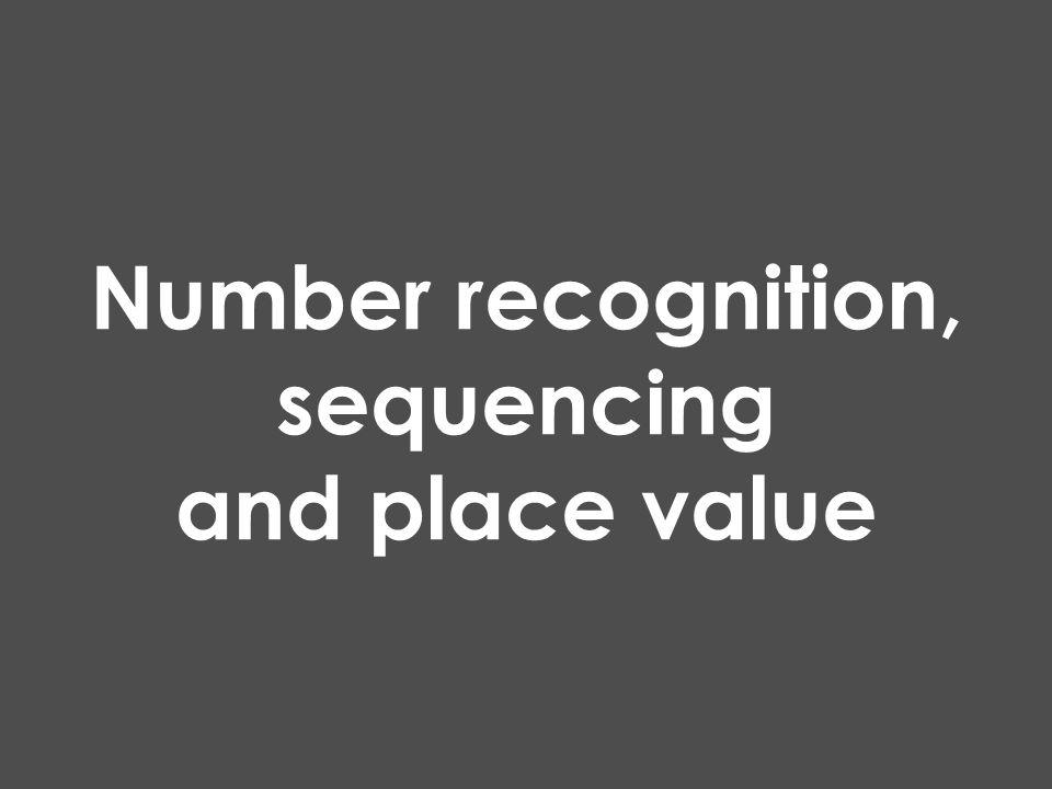 Number recognition, sequencing and place value