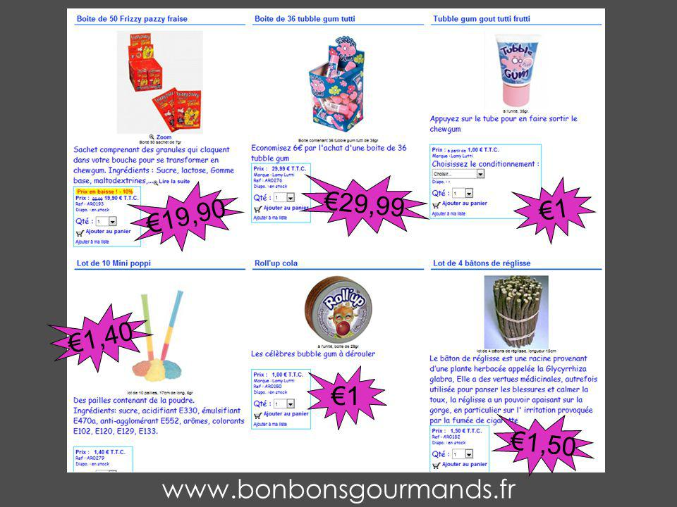 www.bonbonsgourmands.fr 1,40 1 1,50 19,90 29,99 1