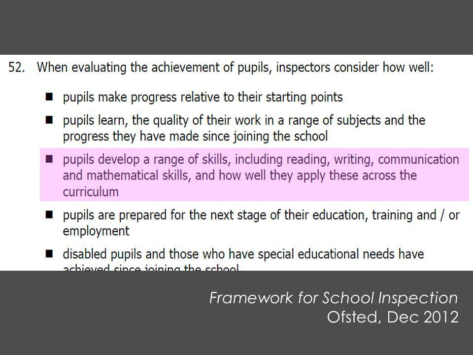 Framework for School Inspection Ofsted, Dec 2012