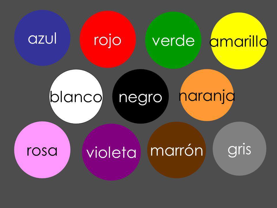 gris azul rojo verde blanco negro amarillo naranja marrón violeta rosa