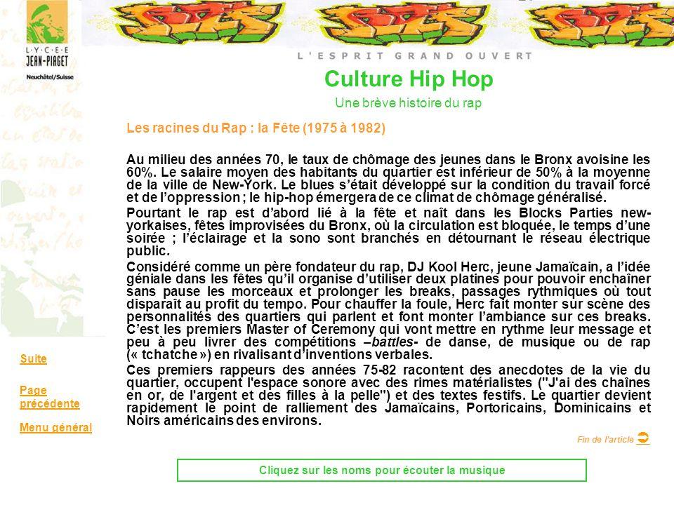Culture Hip Hop Une brève histoire du rap Les racines du Rap : la Fête (1975 à 1982) Au milieu des années 70, le taux de chômage des jeunes dans le Br