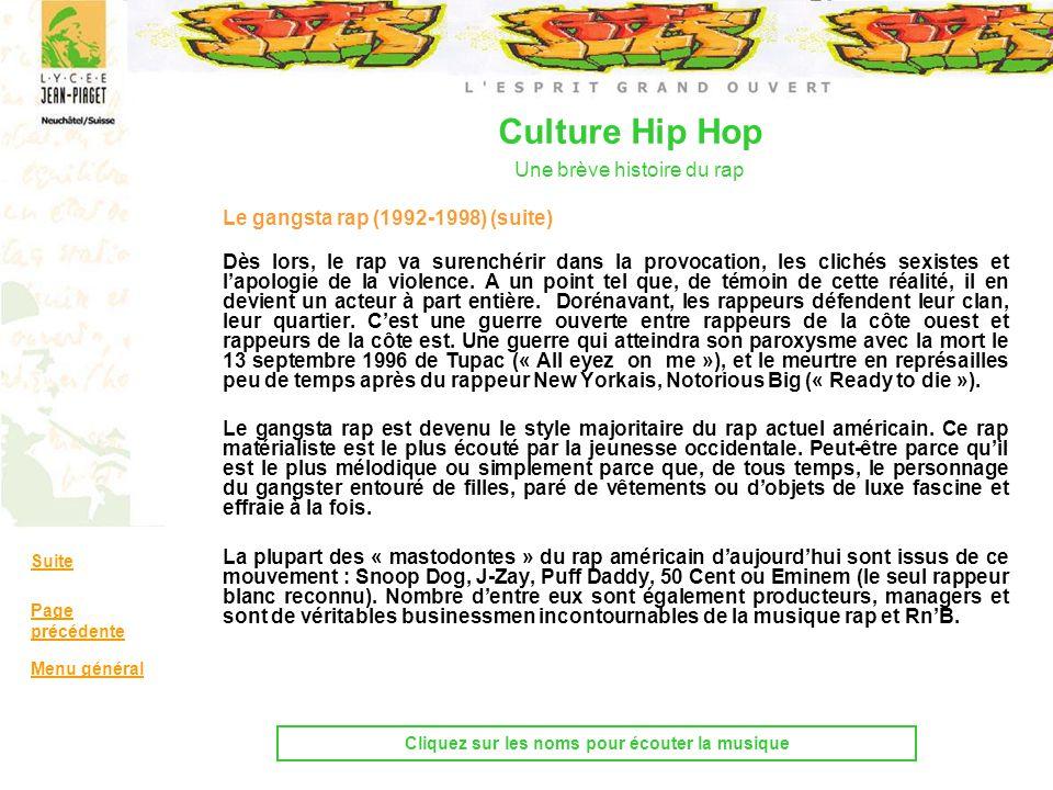 Le gangsta rap (1992-1998) (suite) Dès lors, le rap va surenchérir dans la provocation, les clichés sexistes et lapologie de la violence. A un point t