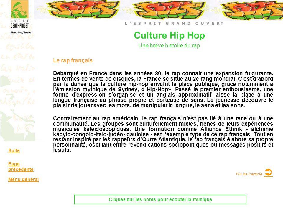 Le rap français Débarqué en France dans les années 80, le rap connaît une expansion fulgurante. En termes de vente de disques, la France se situe au 2