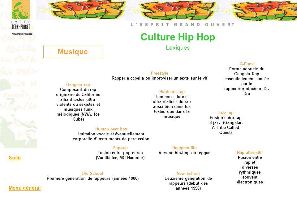 Culture Hip Hop Lexiques Musique Freestyle Rapper a capella ou improviser un texte sur le vif Gangsta rap Composant du rap originaire de Californie al