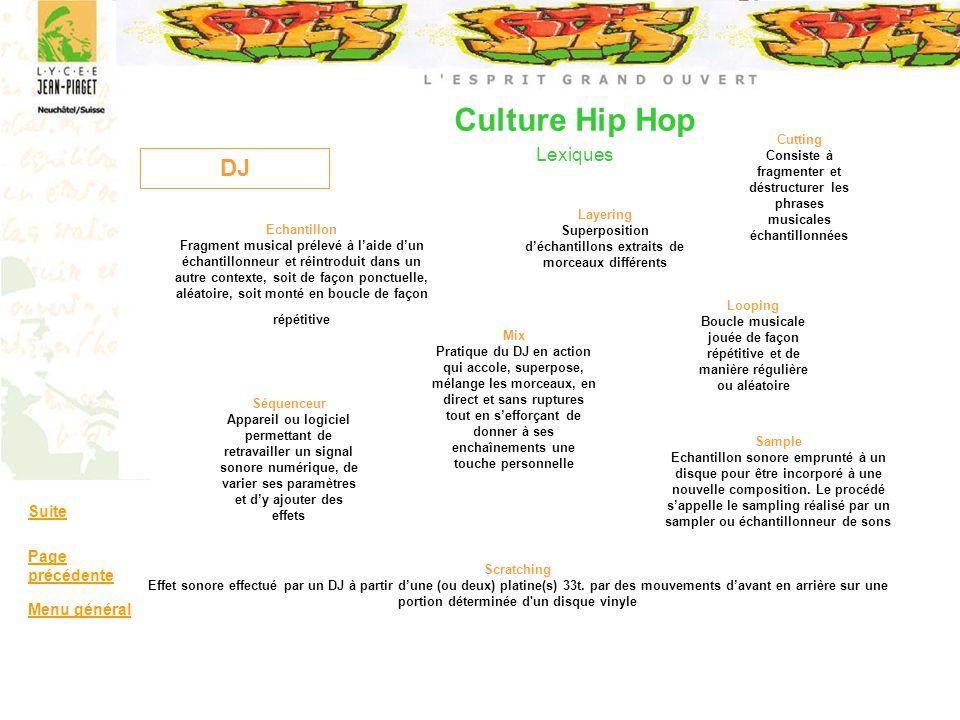Culture Hip Hop Lexiques DJ Cutting Consiste à fragmenter et déstructurer les phrases musicales échantillonnées Echantillon Fragment musical prélevé à