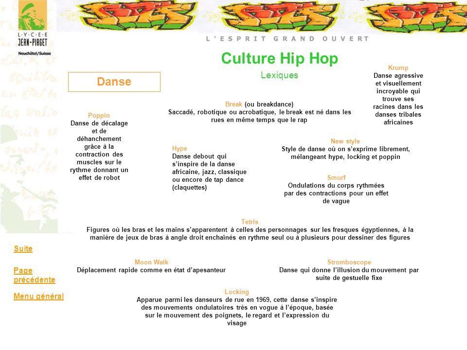 Culture Hip Hop Lexiques Danse Break (ou breakdance) Saccadé, robotique ou acrobatique, le break est né dans les rues en même temps que le rap Hype Da