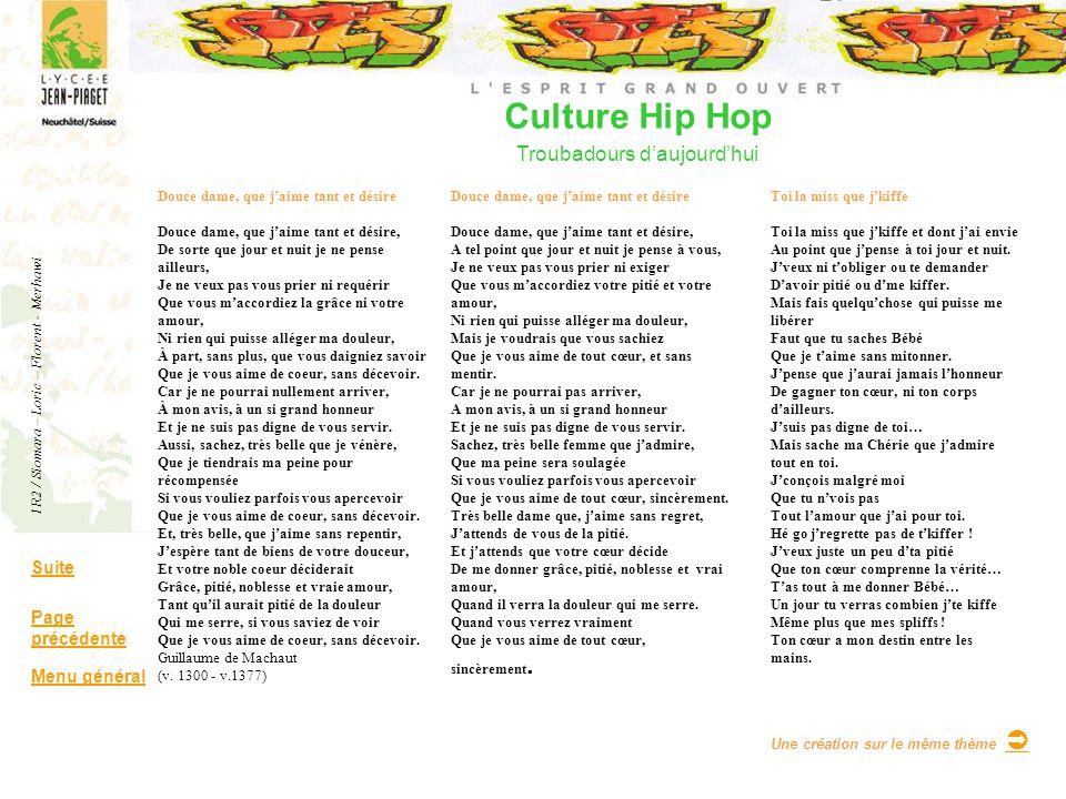 Culture Hip Hop Troubadours daujourdhui Suite Page précédente Menu général Douce dame, que jaime tant et désire Douce dame, que jaime tant et désire,