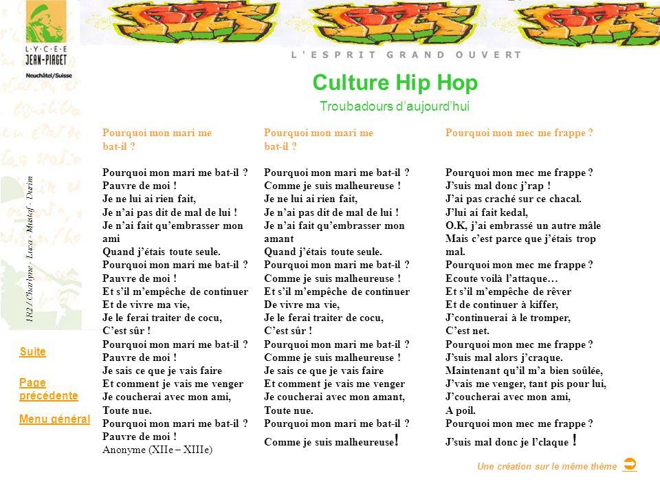 Culture Hip Hop Troubadours daujourdhui Suite Page précédente Menu général Pourquoi mon mari me bat-il ? Pourquoi mon mari me bat-il ? Pauvre de moi !
