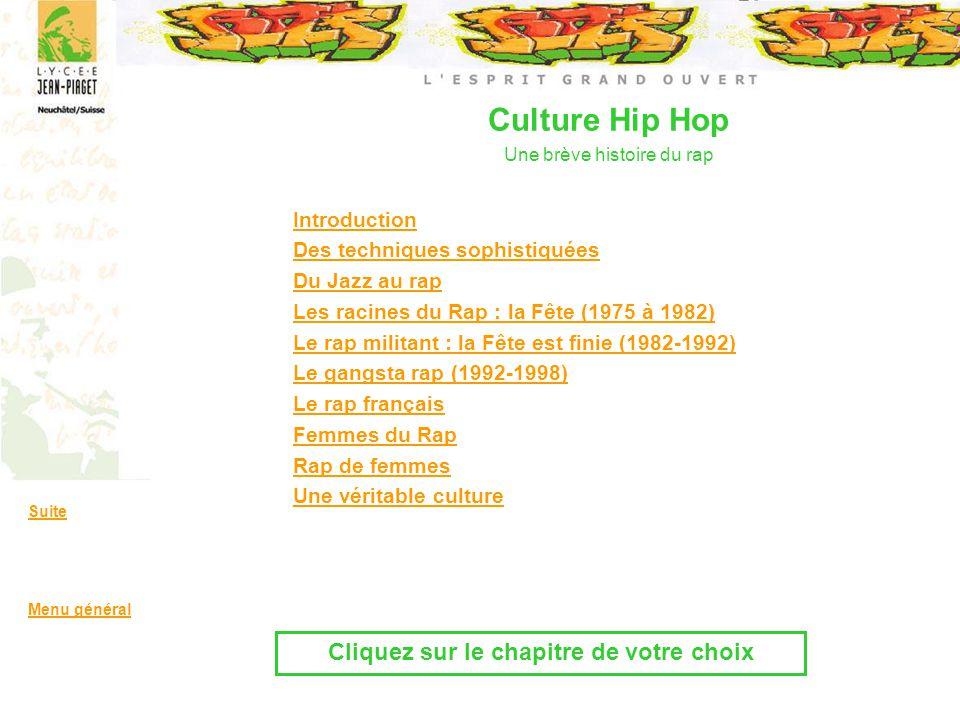 Introduction Des techniques sophistiquées Du Jazz au rap Les racines du Rap : la Fête (1975 à 1982) Le rap militant : la Fête est finie (1982-1992) Le