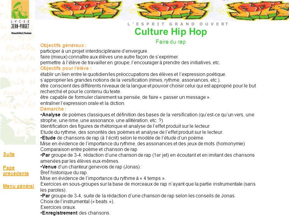 Culture Hip Hop Faire du rap Suite Page précédente Menu général Objectifs généraux : participer à un projet interdisciplinaire denvergure. faire (mieu