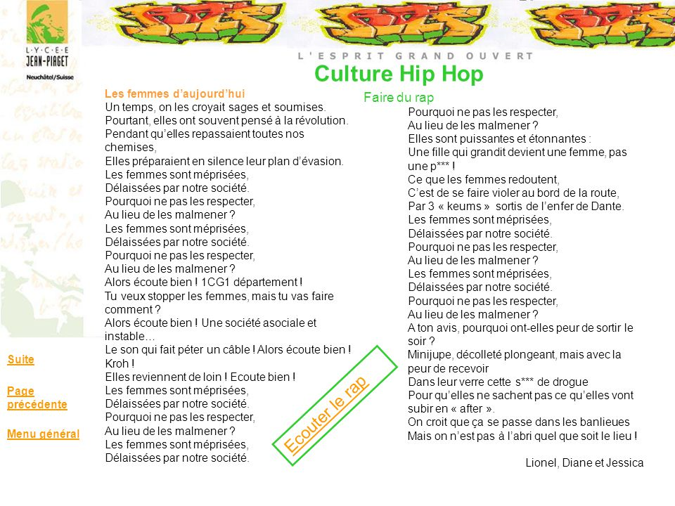 Culture Hip Hop Faire du rap Suite Page précédente Menu général Les femmes daujourdhui Un temps, on les croyait sages et soumises. Pourtant, elles ont