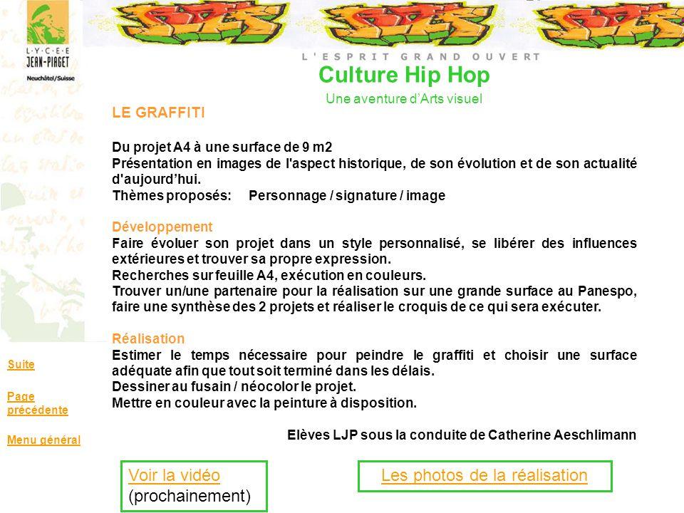 Culture Hip Hop Une aventure dArts visuel Suite Page précédente Menu général LE GRAFFITI Du projet A4 à une surface de 9 m2 Présentation en images de