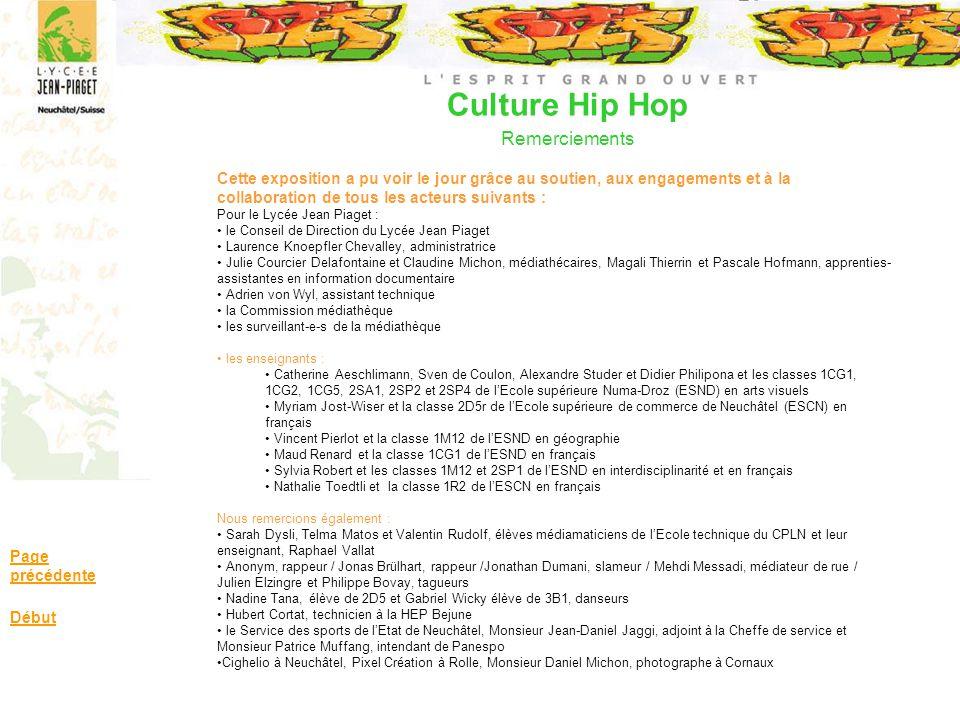 Culture Hip Hop Remerciements Page précédente Début Cette exposition a pu voir le jour grâce au soutien, aux engagements et à la collaboration de tous