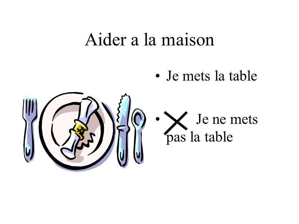 Aider a la maison Je mets la table Je ne mets pas la table