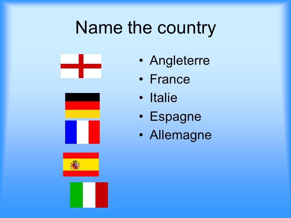 Name the country Angleterre France Italie Espagne Allemagne